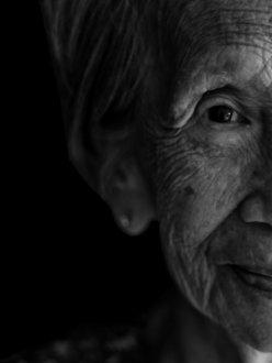 Elderly Centarian Dietitian Black and White
